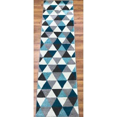 Abreu Rainbow Gray/Blue Runner Rug Rug Size: Runner 23 x 8