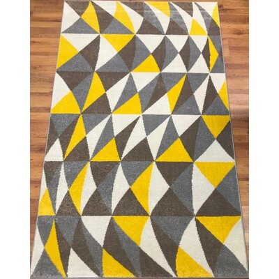 Abreu Rainbow Harmony Yellow/Gray Area Rug Rug Size: Rectangle 5 x 8