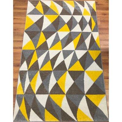 Abreu Rainbow Harmony Yellow/Gray Area Rug Rug Size: Rectangle 8 x 10