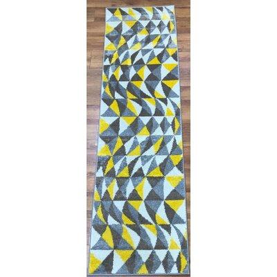 Abreu Rainbow Harmony Yellow/Gray Area Rug Rug Size: Runner 23 x 8