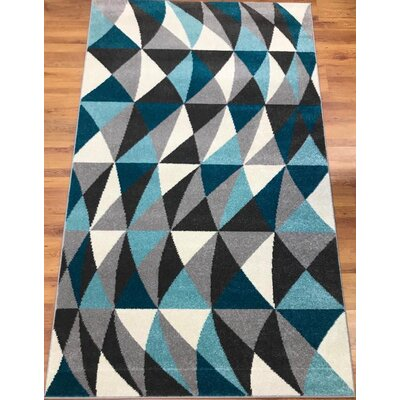 Abreu Rainbow Harmony Blue/Gray/Black Area Rug Rug Size: Rectangle 8 x 10
