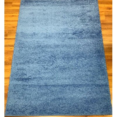 Morillo Star Shaggy Cozy Solid Blue Area Rug Rug Size: Rectangle  53 x 7