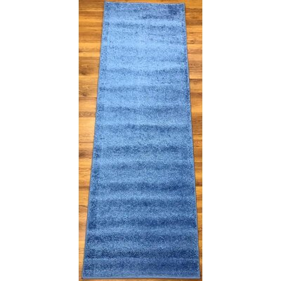 Morillo Star Shaggy Cozy Solid Blue Area Rug Rug Size: Runner 27 x 8