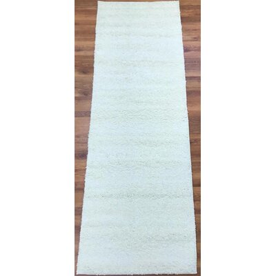 Morillo Star Shaggy Cozy Solid Cream Area Rug Rug Size: Runner 27 x 8