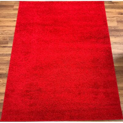 Morillo Star Shaggy Cozy Solid Red Area Rug Rug Size: Runner 27 x 8