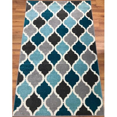 Abreu Rainbow Kimberley Diamond Gray/Blue Runner Rug Rug Size: Rectangle 5 x 8