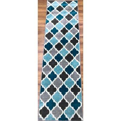 Abreu Rainbow Kimberley Diamond Gray/Blue Runner Rug Rug Size: Runner 23 x 8