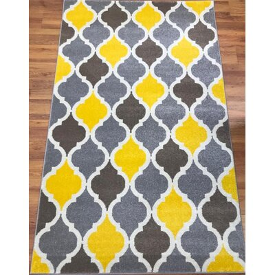 Abreu Rainbow Kimberley Diamond Yellow/Gray Area Rug Rug Size: Rectangle 8 x 10