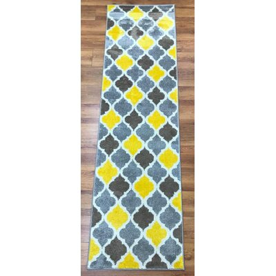 Abreu Rainbow Kimberley Diamond Yellow/Gray Area Rug Rug Size: Runner 23 x 8