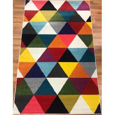 Abreu Rainbow Gray/Yellow Runner Rug Rug Size: Rectangle 8 x 10