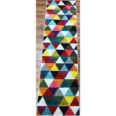 Abreu Rainbow Gray/Yellow Runner Rug Rug Size: Runner 23 x 8