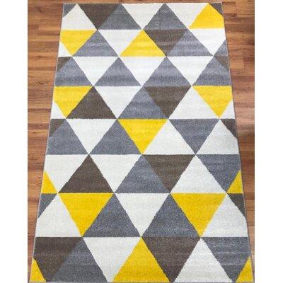 Abreu Rainbow Yellow/Gray Area Rug Rug Size: Rectangle 8 x 10