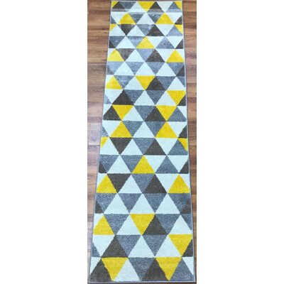 Abreu Rainbow Yellow/Gray Area Rug Rug Size: Runner 23 x 8