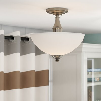 Rockford 3-Light Semi Flush Mount Color: Brushed Nickel, Bulb Type: A19