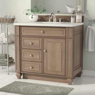 Lambrecht 36 Single Bathroom Vanity Set Base Finish: Whitewashed Walnut, Top Finish: Snow White Quartz, Top Thickness: 3cm