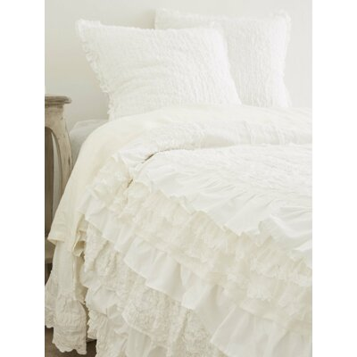 Eliana Ruffled Round Cotton Throw Pillow