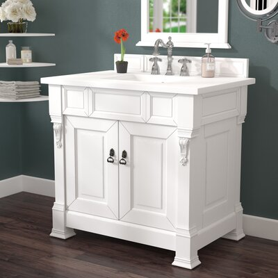Bedrock 36 Single Antique Black Bathroom Vanity Set Base Finish: Cottage White, Top Finish: Snow White Quartz, Top Thickness: 3cm