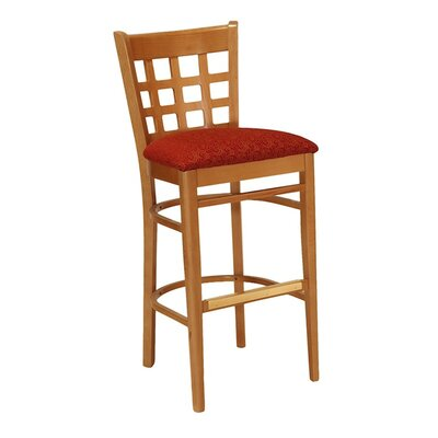 30 Bar Stool Upholstery Color: Partner Black, Frame Color: English Oak