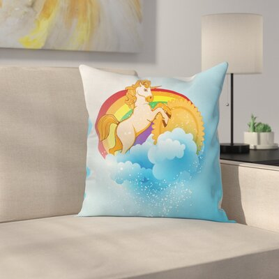 Unicorn Cartoon Kids Rainbow Square Pillow Cover Size: 16 x 16