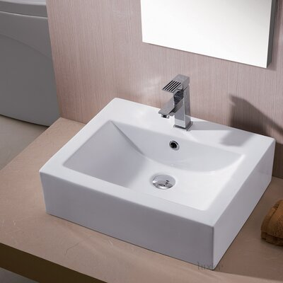 Ceramic Rectangular Vessel Bathroom Sink with Overflow Drain Finish: Brushed Nickel