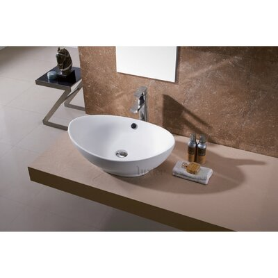 Egg Ceramic Oval Vessel Sink Bathroom Sink with Overflow Drain Finish: Chrome