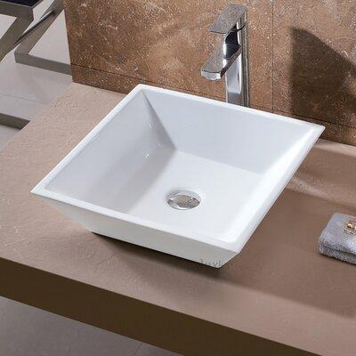 Ceramic Square Vessel Sink Bathroom Sink Drain Finish: Brushed Nickel