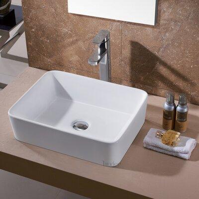Ceramic Rectangular Vessel Sink Bathroom Sink Drain Finish: Chrome