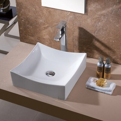 Ceramic Square Vessel Sink Bathroom Sink Drain Finish: Chrome