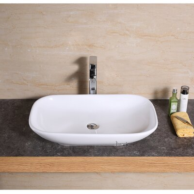 Ceramic Rectangular Vessel Bathroom Sink Drain Finish: Oil Rubbed Bronze
