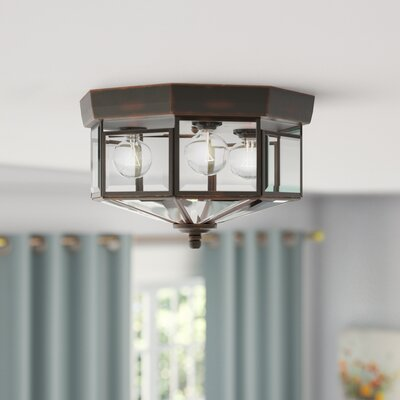 Bluebird Flush Mount Size: 7 H x 12 D, Finish: Antique Bronze