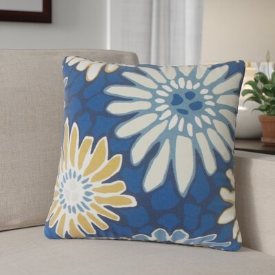 Calvary Floral Down Filled 100% Cotton Throw Pillow Size: 18 x 18, Color: Indigo