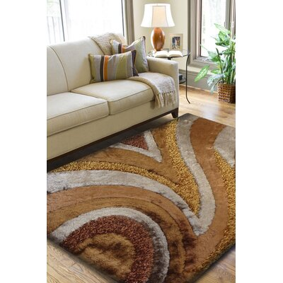 Oyola Shaggy Hand-Tufted Brown Area Rug