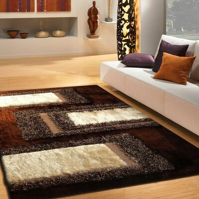 Pangkal Pinang Shaggy Hand-Tufted Brown Area Rug
