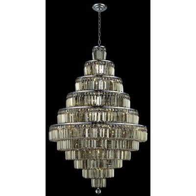 Langer 30-Light Crystal Chandelier Finish: Chrome/Golden Teak, Crystal Grade: Swarovski Strass