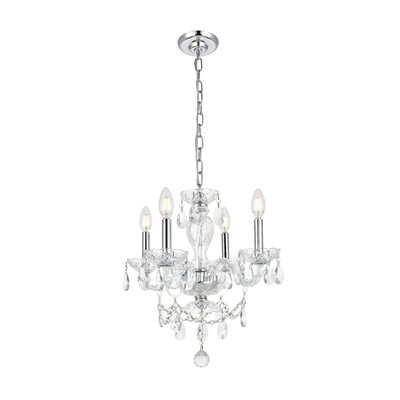 Rochelle 4-Light Crystal Chandelier Finish: Chrome