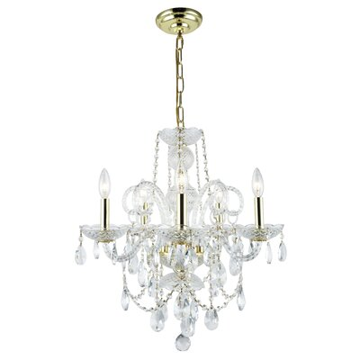 Rochelle 5-Light Crystal Chandelier Finish: Gold