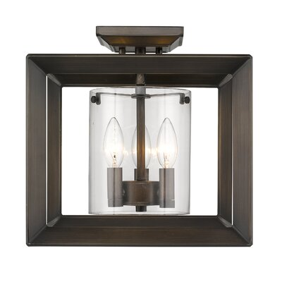 Thorne 3-Light Semi Flush Mount Shade Color: Clear Glass, Finish: Gunmetal Bronze