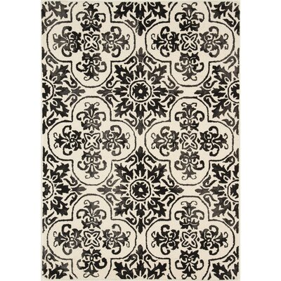 Labriola Hand-Woven Wool Black/White Area Rug Rug Size: Rectangle 5 x 7