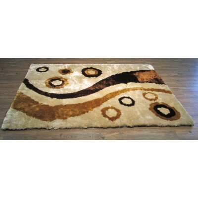 Papke Shaggy Hand-Tufted Beige Area Rug
