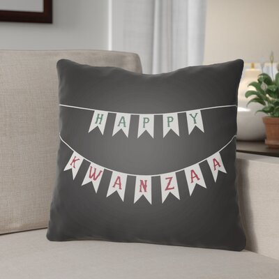 Indoor/Outdoor Throw Pillow Size: 18 H x 18 W x 4 D, Color: Black/White/Green/Red