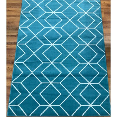 Abdo Kashan King Blue Area Rug Rug Size: Rectangle 5 x 7