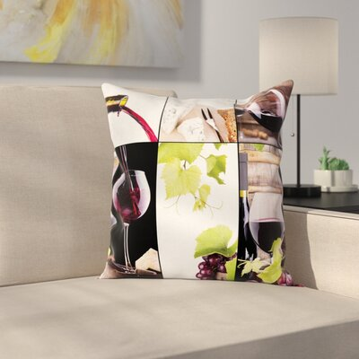 Wine Barrel Bottle Wineglass Square Pillow Cover Size: 20 x 20