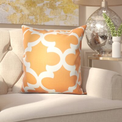 Clyburn 100% Cotton Throw Pillow Color: Orange, Size: 18 x 18