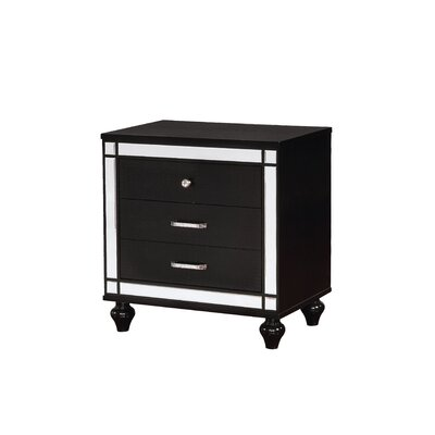 Meserve Contemporary 2 Drawers Nightstand Color: Black