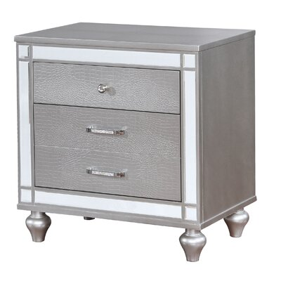 Meserve Contemporary 2 Drawers Nightstand Color: Silver