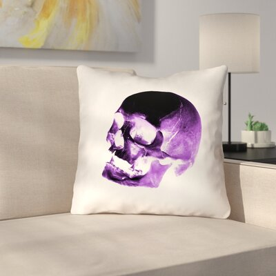 Skull Outdoor Throw Pillow Color: Purple/Black/White, Size: 18 x 18