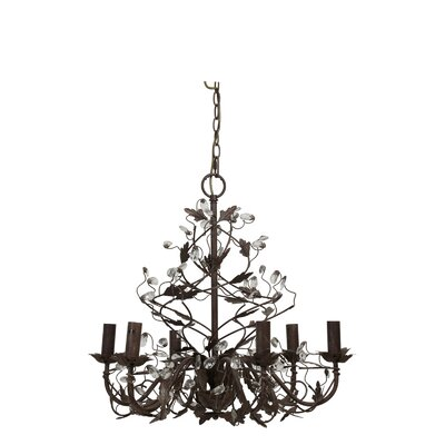 Evita Crystal Iron Hanging 6-Light Candle-Style Chandelier