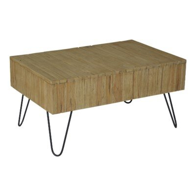 Lohan Rustic Coffee Table Size: 18 H x 35 W x 24 D, Color: Brown