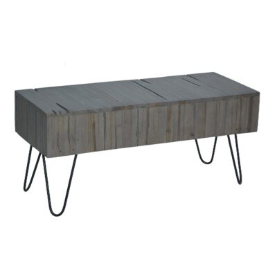 Lohan Rustic Coffee Table Size: 18 H x 39 W x 16 D, Color: Gray