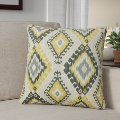 Karolyne Ikat Cotton Throw Pillow Color: Black/Yellow